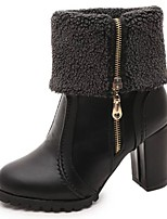 cheap -Women's Shoes PU Winter Fall Comfort Fashion Boots Boots Chunky Heel Mid-Calf Boots for Casual Black