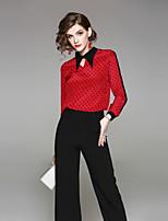 cheap -EWUS Women's Holiday Street chic Spring Summer Shirt,Solid Shirt Collar Long Sleeve Silk