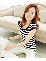 cheap -Women's Daily Casual Summer Tank Top,Striped Round Neck Sleeveless Polyester Thin