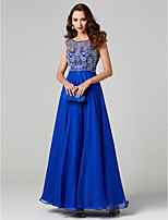 cheap -A-Line Princess Jewel Neck Chiffon Lace Formal Evening Dress with Appliques Pleats by TS Couture®