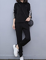 cheap -Women's Casual/Daily Simple Spring Fall Set Pant Suits,Lines / Waves Hooded Long Sleeves Polyester