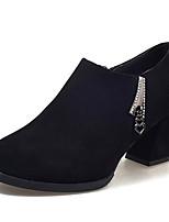 baratos -Feminino Sapatos Couro Ecológico Inverno Outono Conforto Coturnos Botas Salto de bloco Ponta Redonda Botas Curtas / Ankle para Casual