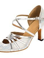 cheap -Women's Modern Faux Leather Glitter Sandal Heel Professional Customized Heel Silver / Customizable