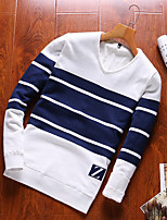 cheap -Men's Daily Casual Short Pullover,Striped V Neck Long Sleeves Polyester Winter Fall Opaque Micro-elastic