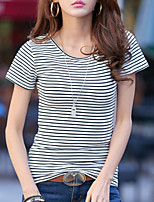 cheap -Women's Daily Casual Summer T-shirt,Striped Round Neck Short Sleeve Cotton Opaque
