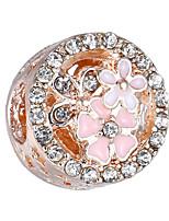 cheap -DIY Jewelry 10 Beads Silver Rose Gold Round Rhinestone Alloy Bead 0.45 cm DIY Bracelet Necklace