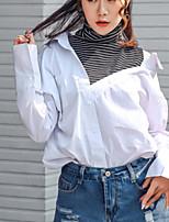 Camicia Da donna Casual Moda città Tinta unita A V Nylon Manica lunga