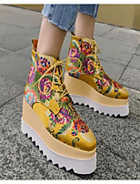 cheap -Women's Shoes Silk Winter Fall Comfort Bootie Boots Creepers for Casual Yellow Black