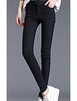 preiswerte -Damen Mittel Polyester Solide Einfarbig Legging,Weiß Schwarz Marineblau
