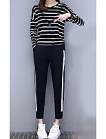 cheap -Women's Casual/Daily Simple Fall T-shirt Pant Suits,Striped Round Neck Long Sleeves Cotton