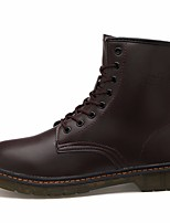 cheap -Men's Shoes Cowhide Winter Fall Comfort Combat Boots Boots Mid-Calf Boots for Casual Brown Black