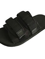 Недорогие -Для женщин Обувь Полиуретан Весна Удобная обувь Тапочки и Шлепанцы На плоской подошве Круглый носок для Повседневные Черный