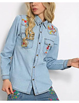 cheap -Women's Going out Street chic Winter Fall Denim Jacket,Solid Floral Print Shirt Collar Long Sleeve Regular Polyester