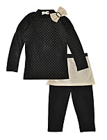 cheap -Girls' Daily Going out Polka Dot Clothing Set,Cotton Spring Fall Long Sleeve Casual Active Black