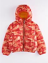 Недорогие -Девочки На пуховой / хлопковой подкладке С принтом Зима Зеленый Оранжевый