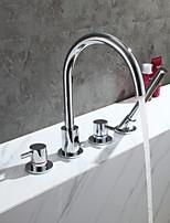 cheap -Contemporary Tub And Shower Brass Valve Two Handles Four Holes Chrome , Bathtub Faucet
