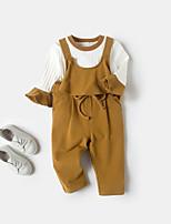 Недорогие -Девочки Набор одежды Повседневные Хлопок Бамбуковая ткань Однотонный Весна Короткие рукава На каждый день Желтый