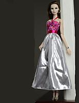 Недорогие -Платья Платье Для Кукла Барби Серебрянный Платье Для Девичий игрушки куклы