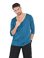 cheap -Latin Dance Tops Men's Performance Spandex Pleated 3/4 Length Sleeve Natural Tops