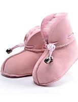 abordables -Fille Chaussures Vrai cuir Fourrure Hiver Automne Confort Bottes de neige Bottes Bottine/Demi Botte pour Décontracté Fuchsia Café Rose