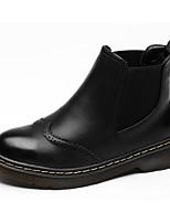 abordables -Femme Chaussures Polyuréthane Hiver Automne Confort Botillons Bottes Talon Plat pour Décontracté Noir Marron Vin