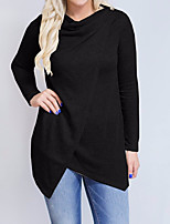 cheap -Women's Daily Casual Winter Fall Blouse,Solid Round Neck Long Sleeve Polyester Opaque