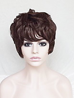cheap -Women Synthetic Wig Short Curly Dark Auburn With Bangs Party Wig Natural Wigs Costume Wig