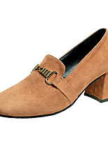 cheap -Women's Shoes PU Spring Fall Comfort Heels Flat for Outdoor Brown Black