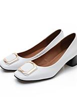 preiswerte -Damen Schuhe PU Frühling Herbst Komfort High Heels Blockabsatz Geschlossene Spitze für Normal Weiß Schwarz