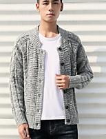 cheap -Men's Daily Solid V Neck Cardigan, Long Sleeves Spring Polyester