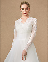 cheap -Long Sleeves Lace Tulle Wedding Party / Evening Women's Wrap With Applique Lace Zipper Shrugs