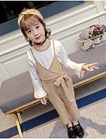 Недорогие -Девочки Набор одежды Повседневные Хлопок Полиэстер Однотонный Весна Лето Длинные рукава На каждый день Хаки
