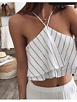 cheap -Women's Going out Street chic Tank Top,Striped V Neck Sleeveless Polyester