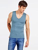 abordables -Hombre Elástico Un Color Medio Camisetas Interiores, Poliéster 1pc Verde Trébol Gris Bleu Ciel Caqui