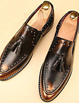 cheap -Men's Shoes Patent Leather Spring Fall Comfort Loafers & Slip-Ons Rivet for Casual Party & Evening Black Brown Wine