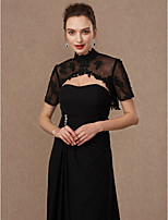 cheap -Short Sleeves Lace Tulle Wedding Party / Evening Women's Wrap With Applique Beading Buckle Lace Shrugs