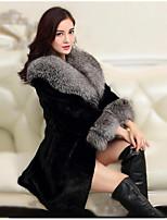 Недорогие -Для женщин На выход Зима Пальто с мехом V-образный вырез,Простой Однотонный Обычная Длинный рукав,Другое