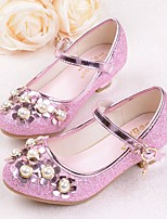 cheap -Girls' Shoes PU Spring Fall Comfort Flower Girl Shoes Tiny Heels for Teens Heels for Casual Pink Purple Silver