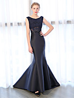 cheap -Mermaid / Trumpet Bateau Court Train Lace Satin Chiffon Formal Evening Dress with Lace by Embroidered Bridal