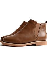 Недорогие -Жен. Обувь Полиуретан Зима Осень Удобная обувь Ботинки На плоской подошве Закрытый мыс Ботинки для Повседневные на открытом воздухе