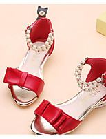 cheap -Girls' Shoes Leatherette Spring Fall Comfort Flower Girl Shoes Sandals for Casual Pink Red Black