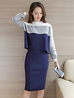 cheap -Women's Daily Vintage All Seasons Set Skirt Suits,Color Block Round Neck Long Sleeve Polyester Micro-elastic