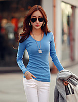 cheap -Women's Daily Casual Spring Fall T-shirt,Solid Round Neck Long Sleeve Cotton Medium