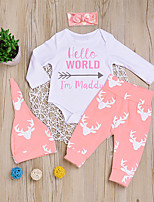 cheap -Baby Unisex Daily Sports Print Clothing Set, Cotton Spring Fall Casual Active Long Sleeves White
