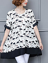 cheap -Women's Casual/Daily Vintage Blouse,Solid Print Round Neck Short Sleeves Polyester