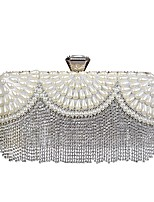 cheap -Women Bags Polyester Evening Bag Crystal Detailing Pearl Detailing Tassel for Wedding Event/Party All Season White