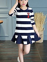 cheap -Girl's Daily Striped Dress,Cotton Spring Fall Long Sleeves Cartoon Navy Blue