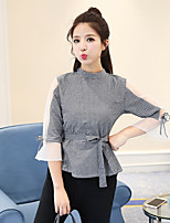 cheap -Women's Casual/Daily Street chic Shirt,Check Stand 3/4 Length Sleeve Cotton