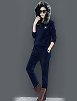 cheap -Women's Going out Casual/Daily Simple Winter Fall Hoodie Pant Suits,Solid Hooded Long Sleeves Cotton Polyester