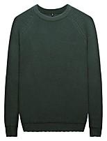 Недорогие -Муж. Сплошной цвет Простой На каждый день Вязаная ткань Пуловер,Повседневные На выход Длинные рукава Круглый вырез Весна